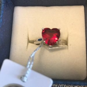 Swarovski Red Heart Crystal Ring
